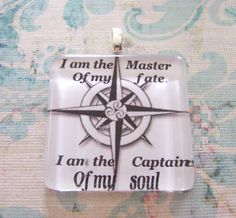 I am the Master of my Fate Compass Glass tile by BeadsByEvelyn, $14.95