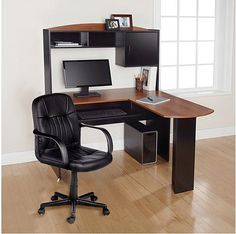 Corner Computer Desk With Hutch & Chair L Shaped Ergonomic Table Home Office NEW - This stylish L-Shaped Desk with Hutch is an ideal computer workstation for your home, home office or dorm room. You can create your own personal work environment almost anywhere. #CornerComputerDesk #ComputerDesk #ComputerChair