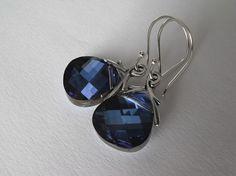 Bermuda Blue Earrings Sterling Silver Dangle by SilverManiaStudio