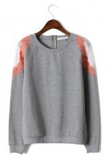 Pearly Embroidery Shoulder Grey Sweater  #Chicwish