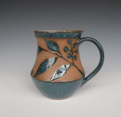 Leaf and Berry Mug by Dana Lehrer Danze by zBluePottery on Etsy