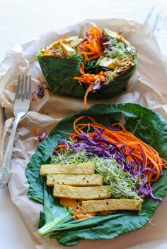 For a delicious and healthy lunch, make these protein-rich vegan baked tofu veggie collard wraps. By Lauren Kirchmaier