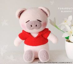 Crochet Pig Doll Size about 8 inch (sitting) Made of acrylic yarn and stuffed the inside with polyester fiber. Crochet Patterns Amigurumi, Crochet Toys, Cute Pigs, Cute Crochet, Hello Kitty, Teddy Bear, Knitting, Crafts, Piglets