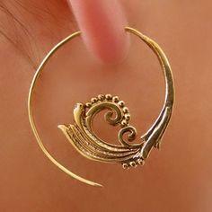 cercles de laiton de feuille boucles d'oreilles  de Ronibiza - bijoux tribaux  sur DaWanda.com