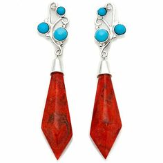 Jay King Coral and Turquoise Drop Earrings