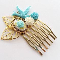 Sky Blue Rose Cluster Hair Comb-Prom Hair Accessory-Bird Fascinator-Bridal Hair Wear-Offbeat Bride-Simple Chic Accessory-Cute Hair Wear