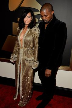Kimye were as glam as ever at the Grammys, with Kim in Jean Paul Gaultier