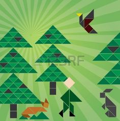 Tangram Forrest With Animals Royalty Free Cliparts, Vectors, And ...