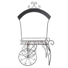 Chelsey- Wrought Iron Chalkboard Garden Cart || Wrought iron garden cart with unique chalkboard arch. Dimensions: 36 x 22 x 84