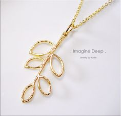 50 off SPECIAL  Pendant Necklace  22 inch Gold by ImagineDeep, $14.98