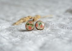 Floral earrings small wooden studs white red stud by MyPieceOfWood
