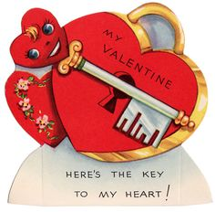 """My Valentine, Here's The Key to My Heart!"" vintage valentine card"