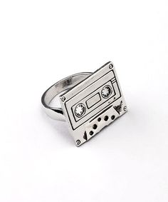 This Silver Cassette Tape Ring by ZAD is perfect! #zulilyfinds