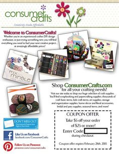 30 best crafter 39 s coupon book images on pinterest coupon for Promo code for consumer crafts