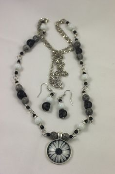 Black Skulls/White Daisies Silver, Stone & Glass Necklace and Earrings Set by TheContraryDame on Etsy
