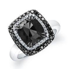 BLACK DIAMOND ENGAGEMENT RINGS | White Gold Cushion Shape Black Diamond Engagement Ring