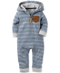 Carter's Baby Boys' Striped Hooded Coverall | macys.com