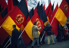 East Berlin. 1974. Demonstration on First of May at Soviet monument.in East Germany in 1974
