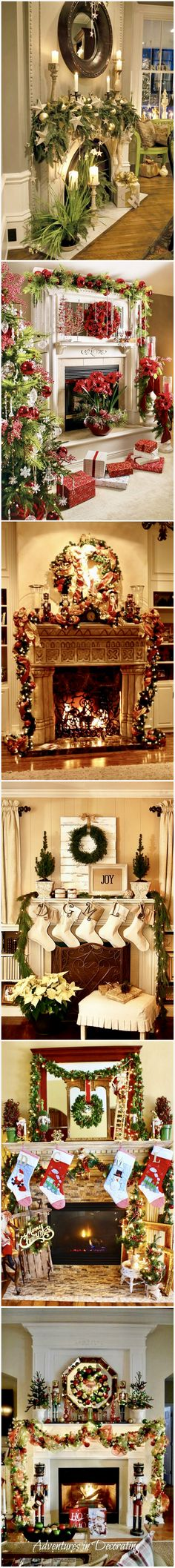 44 Exceptional Christmas Mantels and Mantelpiece Ideas Christmas Fireplace, Christmas Mantels, Christmas Love, Rustic Christmas, All Things Christmas, Christmas Holidays, Christmas Wreaths, Christmas Crafts, Christmas Tables