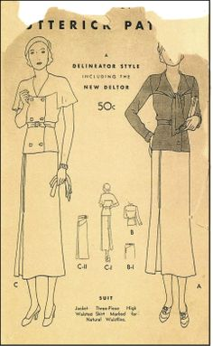 1930s Ladies Three-Piece Suit Sewing Pattern - Butterick #4454