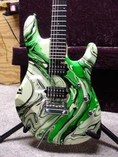 Glow JP6 - 1 Guitar Painting, Guitar Art, Music Guitar, Custom Electric Guitars, Custom Guitars, Easy Guitar, Cool Guitar, Painted Ukulele, Green Electric