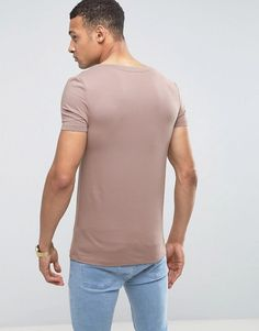 ASOS Muscle Fit T-Shirt With Scoop Neck And Stretch In Brown - Brown