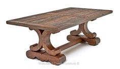 Our Tuscan Dining Table is a modern take on Tuscan's old world charm.  The trestle base's scroll design softens Tuscan's traditional masculine character.  The base's bold curves add sophistication and refinement while the distressed top gives just the right balance of rusticity.  This is a transitional design that will look great in many different decors including lodge, cottage,