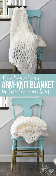 DIY Gift for the Office - Arm Knit Blanket - DIY Gift Ideas for Your Boss and Coworkers - Cheap and Quick Presents to Make for Office Parties Secret Santa Gifts - Cool Mason Jar Ideas Creative Gift Baskets and Easy Office Christmas Presents Knitting Projects, Crochet Projects, Sewing Projects, Craft Projects, Project Ideas, Sewing Ideas, Finger Knitting, Arm Knitting, Knitting Patterns