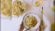 Videoresepti: Nuudeli-varhaiskaalisalaatti Grains, Tacos, Rice, Mexican, Cooking, Ethnic Recipes, Food, Kitchen, Essen