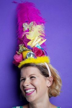 Carmen Miranda style Headdress. Wiggle your hips and pile on the fruit, mirror balls and plastic bananas girls. Betty's Birds shows you how to make your headdress spectacular!