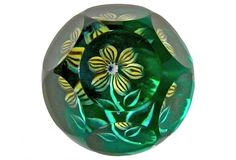 Faceted Studio Glass Paperweight with Yellow Blossom