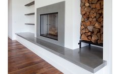 We like the hearth to sit on and the open wood shelves and the firewood storage