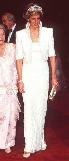 Princess Diana's pearl-encrusted jacket featured a sharp collar, Very cool.