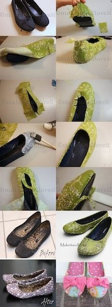 DIY Fabric Covered Shoes want to use this idea for shoes and boots that have scuffed up toes and heals=maybe a lace material and modge podge after for durabilty
