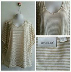Avenue Womens Ladies Top blouse Shirt Plus Size 22/24 3X gold and white striped