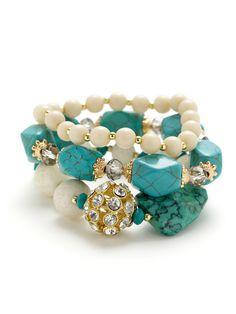 Leslie Danzis   Set of 3 Multicolor Beaded Stretch Bracelets