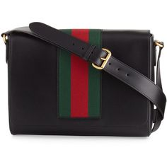 Gucci Men's Leather Messenger Bag w/Web (158.910 RUB) ❤ liked on Polyvore featuring men's fashion, men's bags, men's messenger bags, black, gucci mens messenger bag, mens courier bag, mens messenger bags and mens leather messenger bag