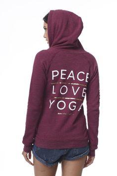 Peace Love Yoga Fleece Zip Hoodie Crimson Red #FALL-2015 #HOODIES #LARGE