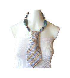 AZURE light blue & sand striped silk women's tie by Estilo Margot, $33.99