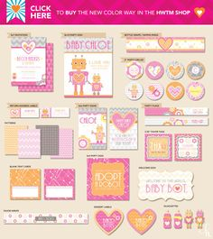 robot baby shower: free printables
