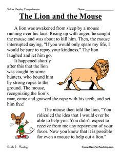 First Grade Reading Comprehension Worksheets | The Lion and the Mouse Reading Comprehension Worksheet