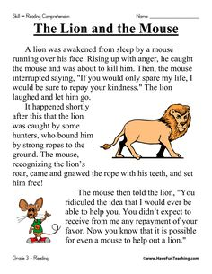 First Grade Reading Comprehension Worksheets | The Lion and the Mouse Reading Comprehension Worksheet