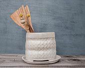 White Ceramic utensil holder, polka dot pattern vase , # freefolding studio on #etsy