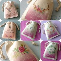 Personalized Small Muslin Favor Bags