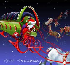 Horses pulling santa