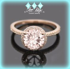 Vintage Engagement Ring 1.5ct Round Peach Pink Moissanite in a 14k Rose Gold Diamond Halo Setting - Nice Morganite alternative