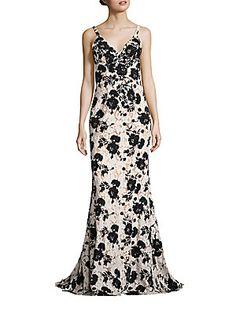 Jovani Embellished Floral Gown; open back