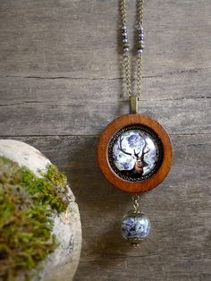Deer necklace, Woodland jewelry, Antler necklace, Natural wood necklace, Deer photo glass pendant, Real dried lavender glass ball WJ 001