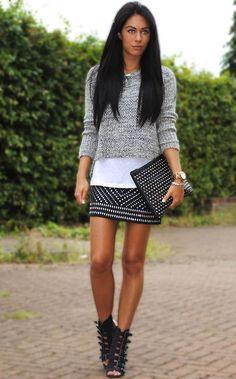 Shop this look on Kaleidoscope (sweater, skirt, sandals, clutch)  http://kalei.do/WHvwvVezUcfQxC2p
