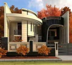 The exterior is the face of the house that everyone will see in the first part. Take a look at the world's most beautiful modern homes and find Front Wall Design, Exterior Wall Design, Facade Design, House Main Gates Design, Bungalow House Design, Modern House Design, Beautiful Modern Homes, Model House Plan, House Plans